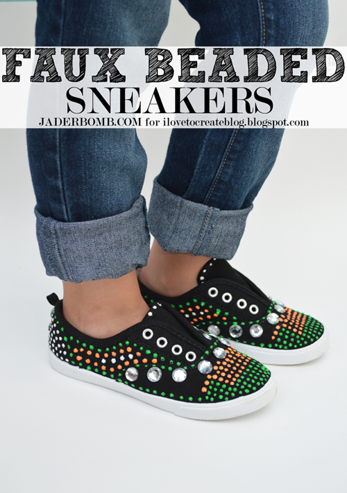 faux beaded sneakers