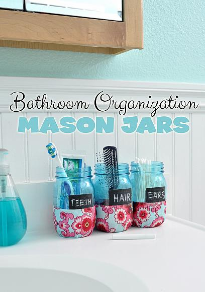 Bathroom Organizer Mason Jars Craft Idea and Tutorial